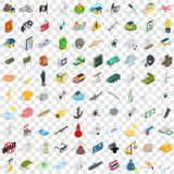 100 pain icons set, isometric 3d style Royalty Free Stock Image