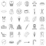 Pain icons set, outline style Stock Photos