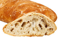 Pain italien cuit au four frais de chiabatta d'isolement sur le blanc Photo stock
