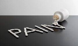 Pain killers spilling from bottle royalty free stock photo
