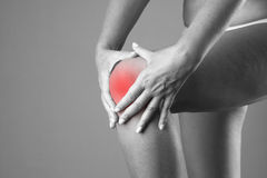 Pain in the knee. Pain in the human body on a gray background Royalty Free Stock Images