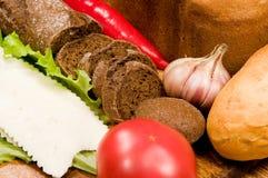 Pain, légumes et fromage images libres de droits