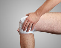 Pain in leg. The bandage Stock Image