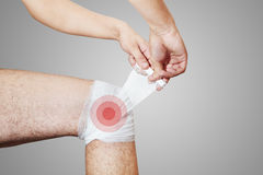 Pain in leg. The bandage Stock Photography