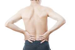 Pain in the lower back Stock Photos