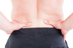 Pain on lower back or lumbar area concept Royalty Free Stock Images