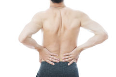 Pain in the lower back in men Stock Images