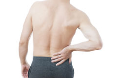 Pain in the lower back in men Royalty Free Stock Photography