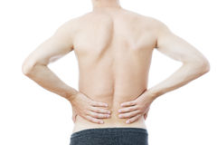 Pain in the lower back of men Royalty Free Stock Photos