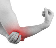 Pain in a man elbow Stock Photos