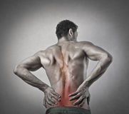 Pain man. Man holding his back lumbar Stock Photo