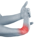 Pain in a man wrist Royalty Free Stock Image
