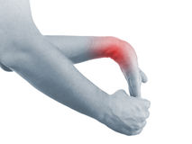 Pain in a man wrist Stock Image