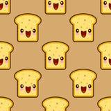 Pain mignon de pain grillé pour le personnage de dessin animé souriant de kawaii de petit déjeuner illustration de vecteur