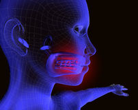 Pain and mouth. 3d image of x-ray of a mouth of woman vector illustration