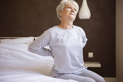 Pain in my back. This bed isn't comfortable for me Stock Image
