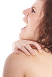 Pain in my shoulder Royalty Free Stock Image