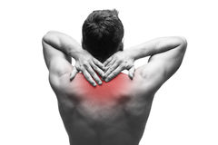 Pain in the neck. Man with backache. Muscular male body. Isolated on white background Royalty Free Stock Image