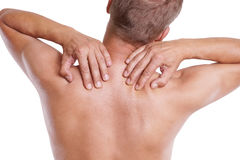 Pain in neck Royalty Free Stock Photos