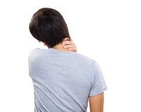 Pain neck of man. Isolated on white Stock Photo