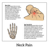 Pain in the neck of a man. Vector sketch illustration , man holding his hand sore neck, spine disease or muscle overexertion, human neck injury,  black and Stock Images