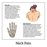 Pain in the neck of a man. Pain in the neck of a woman, vector sketch illustrationa isolated, woman holding his hand sore neck, spine disease or muscle Royalty Free Stock Images