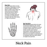 Pain in the neck of a man. Pain in the neck of a woman, vector sketch illustrations , woman holding his hand sore neck, spine disease or muscle overexertion Royalty Free Stock Photo