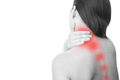 Pain in neck of women Stock Photos