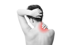 Pain in neck of women. Pain in the neck of women. Touching the neck Royalty Free Stock Images