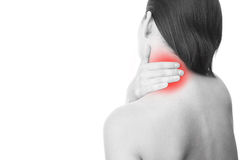 Pain in neck of women Royalty Free Stock Images