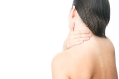 Pain in neck of women Stock Image