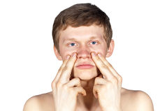 The pain of the nose. Isolation of the nose pain Stock Photos