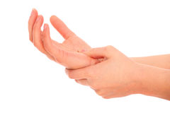 Pain in the palm Royalty Free Stock Photo