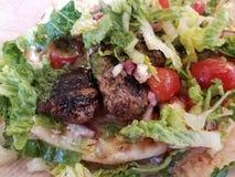 Pain pita avec la boulette de viande d'agneau et la laitue et la tomate images libres de droits