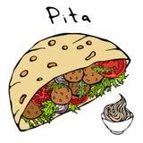 Pain pita de Falafel ou salade de boulette de viande en pain de poche et sauce à mayonnaise Israel Healthy Fast Food Bakery arabe Photographie stock