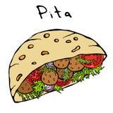 Pain pita de Falafel ou salade de boulette de viande en pain de poche Israel Healthy Fast Food Bakery arabe Nourriture juive de r Image stock