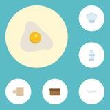 Pain plat d'icônes, plat, éléments de vecteur de Hat And Other de chef Ensemble d'icônes plates de nourriture Images libres de droits