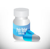 Pain relief pills and jar illustration Royalty Free Stock Photography