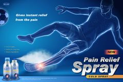 Pain relief spray ads. With an injured soccer player, x-ray effect in 3d illustration vector illustration