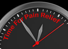 Pain relief. Time for pain relief motivation message on concept clock, 3d rendering Stock Photography