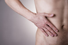 Pain in the right side. Attack of appendicitis Royalty Free Stock Image