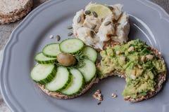 Pain rond de sarrasin ou de seigle avec le guacamole, le concombre et les poissons avec le tahini Images stock