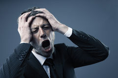 Pain. A screaming worried, depressed, and stressed out businessman holds his head Stock Photography