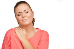 Pain in shoulder. Stock Photography