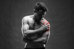 Pain in the shoulder. Muscular male body. Handsome bodybuilder posing on gray background Stock Image