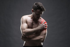 Pain in the shoulder. Muscular male body. Handsome bodybuilder posing on gray background Royalty Free Stock Images