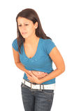 Pain in stomach. Girl in pain Royalty Free Stock Photo