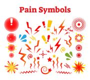 Pain symbols, vector illustration with damage, crash and ache signs. Simple expressive shapes Royalty Free Stock Photo