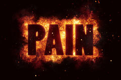 Pain text on fire flames explosion burning. Explode Stock Photography