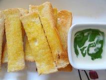 Pain thaïlandais de crème anglaise de Pandan Photographie stock libre de droits